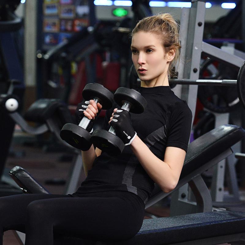 Высокая упругие йоги погонной гимнастика быстро двигающийся спорт с короткими рукавами Сжатого Lady T - рубашки женщины