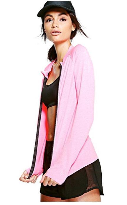 Розовая Женщина Fit Бесшовный Running Jacket
