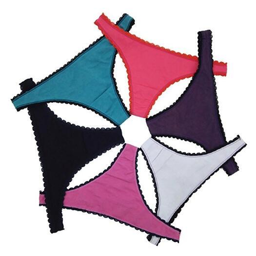 Сексуальное кружево Стринги пакет из 6 различных цветов VG Струны Женских трусов