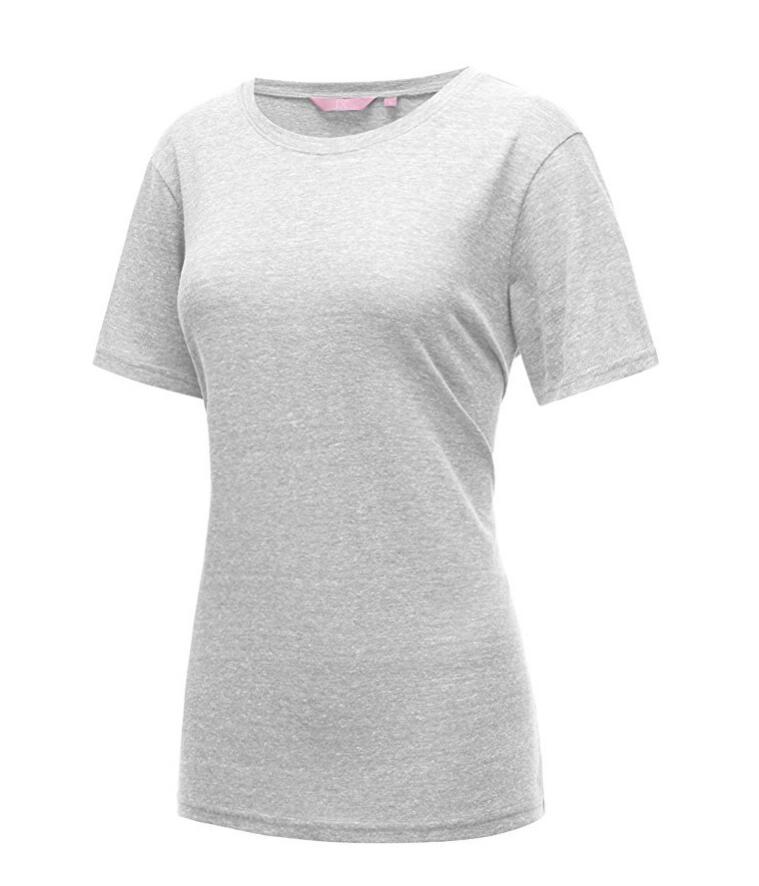 Короткие рукава вокруг шеи хлопок Tri-смешаться Летняя футболка Top