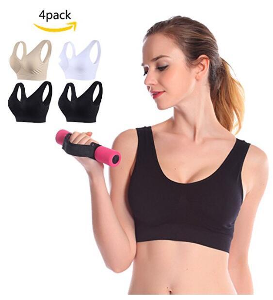 Спорт Bras Женщины Плюс Размер Комфорт Бесшовные Bralette Съемный Обивка 4 шт