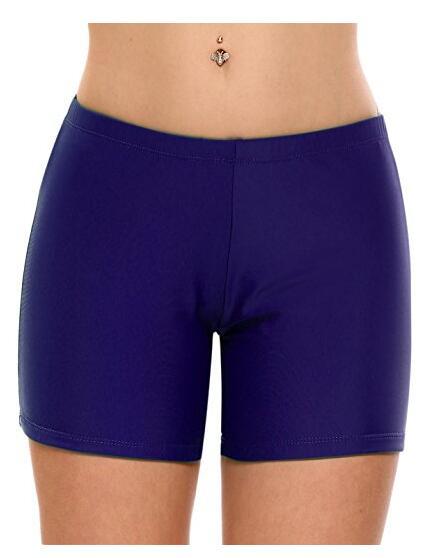 Женщины Середина талия Твердый плавать Boyshorts Пляж Bikini Bottom Swimwear