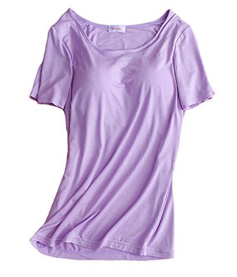 Женщины Бесшовные Лифчики с коротким рукавом Регулируемый ремень Встроенный бюстгальтер Полка Грудь Pad Рубашка