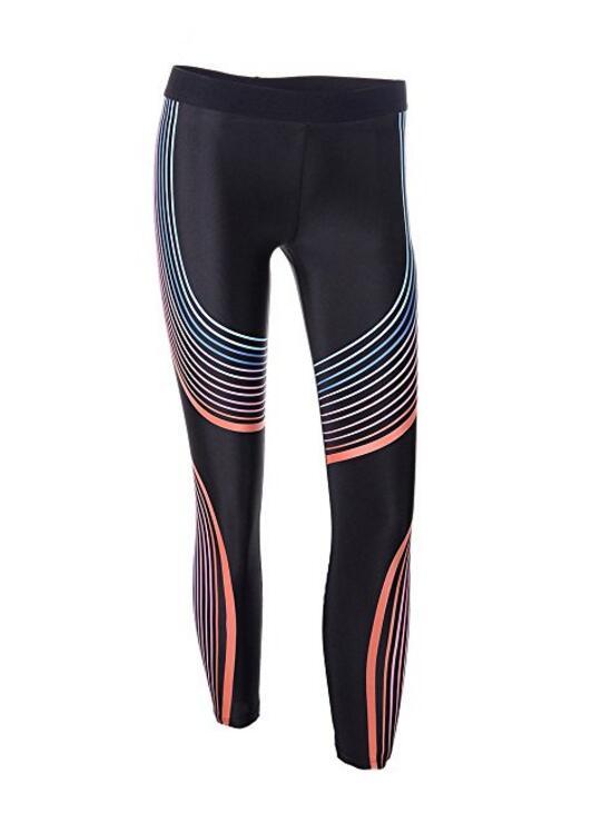 Женщины Эластичный Stripes Printed Legging Бесшовные Athletic Tight Бег Йога Брюки