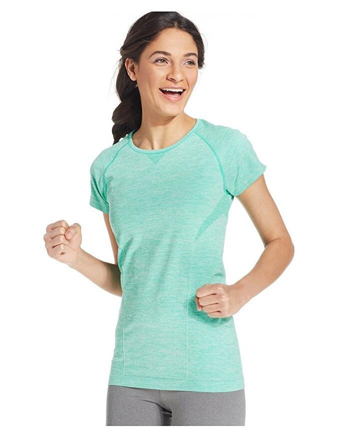 Женская Crew-Neck Tee Бесшовная Top Shirt