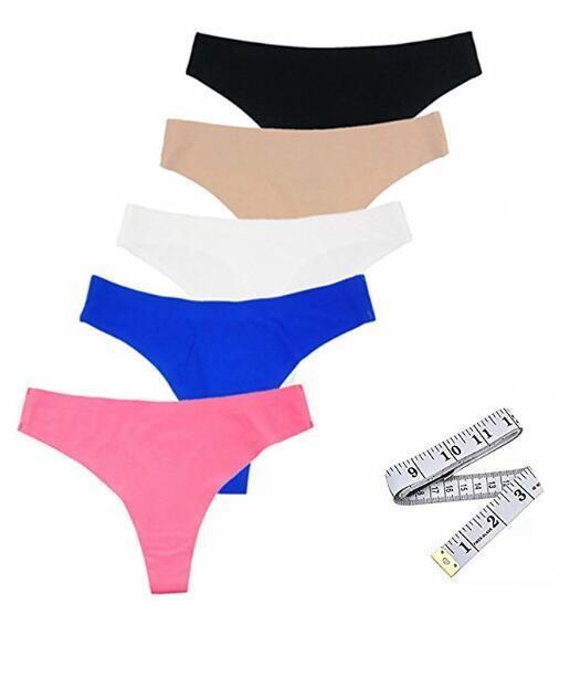 Для женщин Невидимый Thong Бесшовные Малоэтажное Panty пакет из 5
