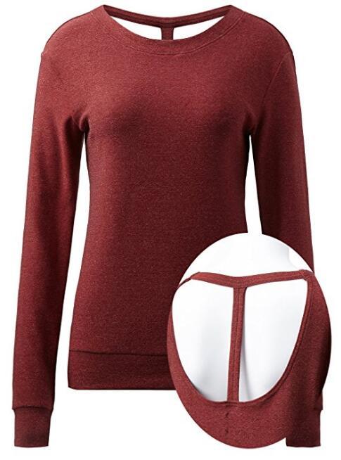 Для женщин с длинным рукавом вокруг шеи Активный Open-Back Запуск Top