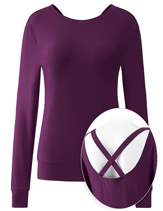 Для женщин с длинным рукавом вокруг шеи Активный Open-Back Запуск Top 2-ой версии, NE-170