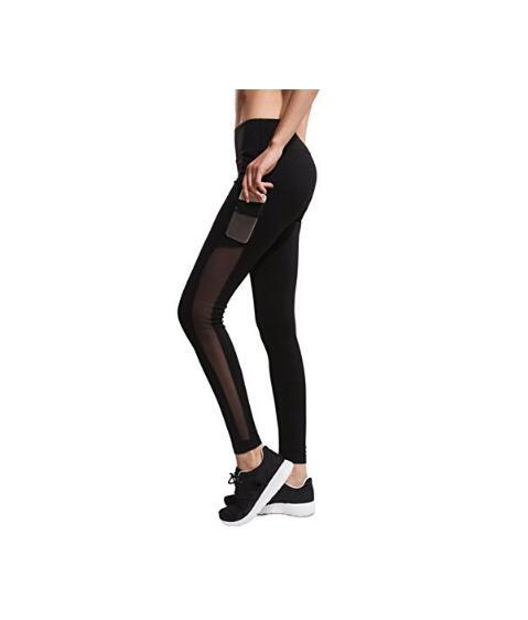 Женская сетка тренировки Спорт Pant Gym Бег Йога Legging с боковым карманом