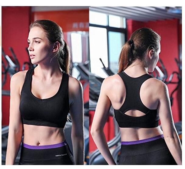 Поддержка женщин Racerback Спортивные бюстгальтеры Бесшовные Ударопрочный тренировки Йога бюстгальтера