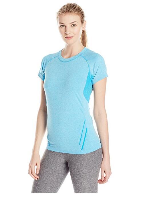 Для женщин Бесшовные спортивный базовый слой с коротким рукавом тройник Running Shirt