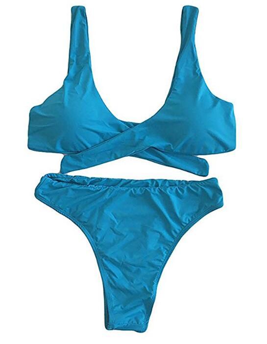 Женская сексуальная Thong высокой талия Двухкусочного Swimsuits Tie Узел бинты Бикини Наборы