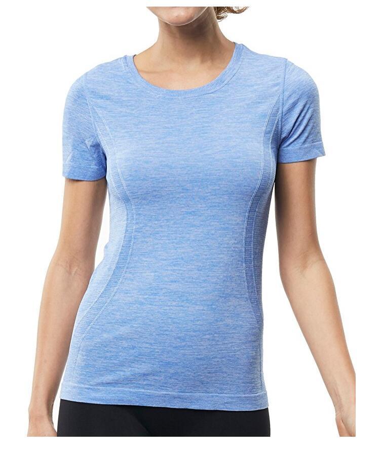 Женская с коротким рукавом Спортивные Tee Влага Влагоотведение Athletic рубашка