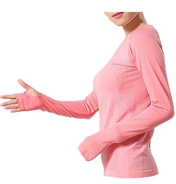 Женская Gym кожи Йоги Run бесшовная Функция с длинным рукавом Фитнес футболка