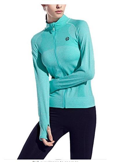 Для женщин Спортивный зал кожи Йога Run Бесшовные с длинным рукавом куртки, NE-267