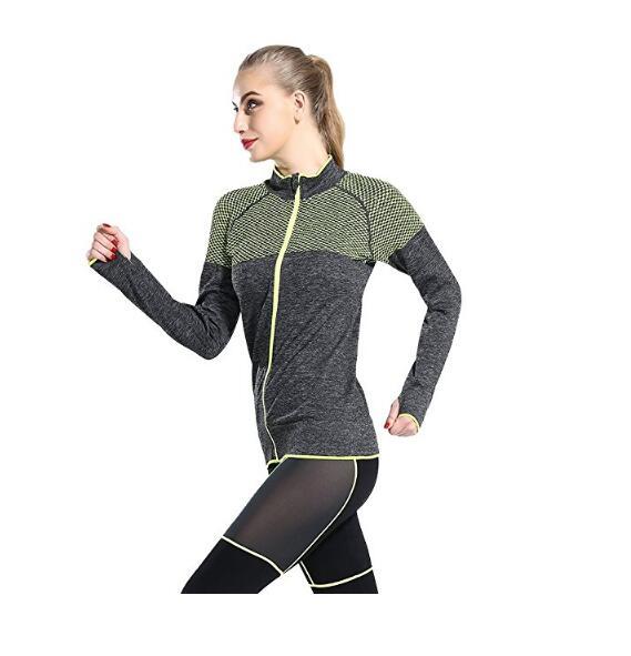 Женская Stretch Бег тренировки Йога Полный Zip Jacket с Thumb отверстий, NE-258