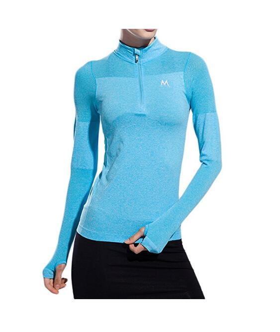 Женская Sweathshirts Half-Zip Quarter с длинными рукавами Йога Бег пуловер Jacket