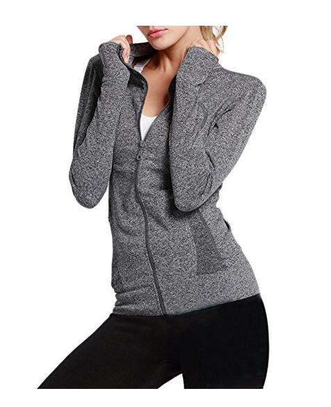 Женская молния с длинными рукавами рубашки Йога Фитнес Бег Jacket, NE-270