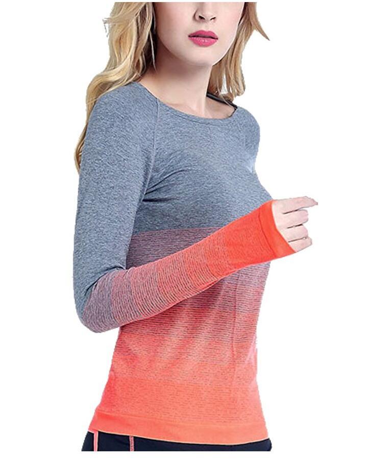 Йога Спорт градиент цвета с длинным рукавом Женщины Тонкий Открытый футболку