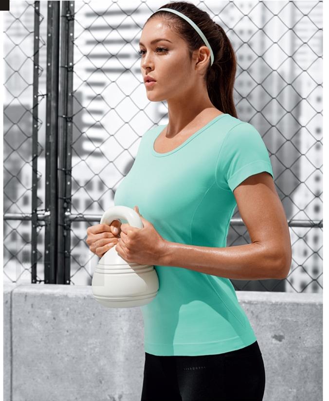 оптовые бесшовной спортивной дамы тренировки тенниска женщин фитнес одежды тренажерный зал тенниска